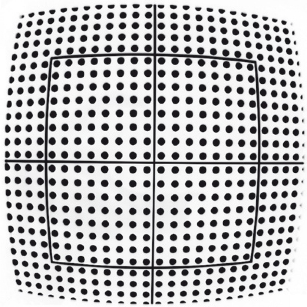 The image shows the same pattern that has a high radial distortion