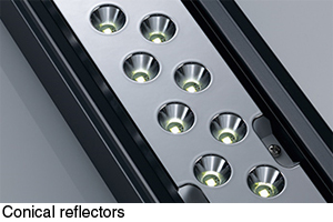 High-power direct-beam strip lights